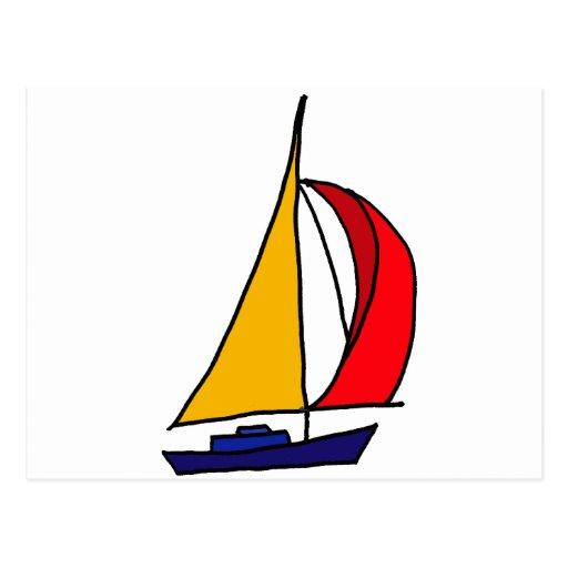 XX barco de vela colorido Postales