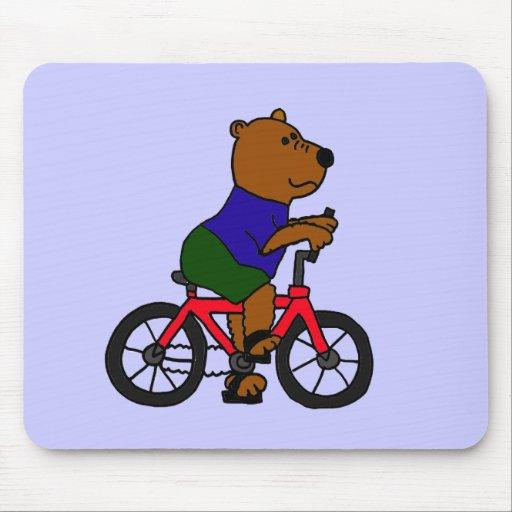 XX- Bear Bicycling Cartoon Mouse Pad