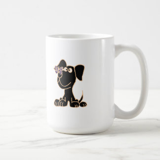 XX- Black Puppy Dog with Butterfly on Nose Coffee Mug