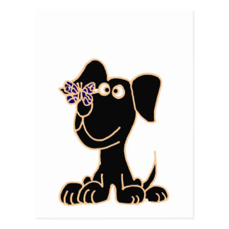 XX- Black Puppy Dog with Butterfly on Nose Postcard