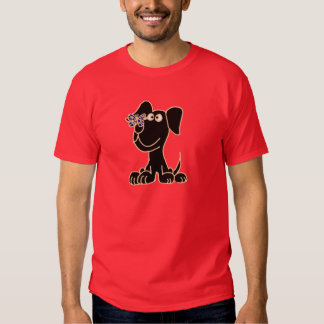 XX- Black Puppy Dog with Butterfly on Nose Shirt