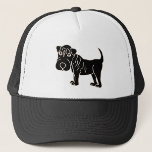 XX- Black Shar Pei Dog Cartoon Trucker Hat