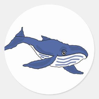 XX- Blue Whale Cartoon Classic Round Sticker