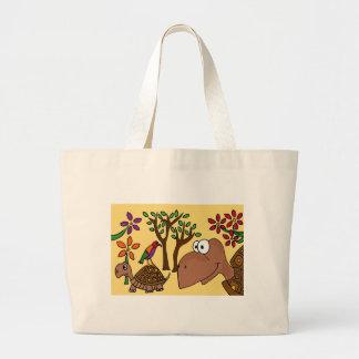 XX- Box Turtle and Flowers Folk Art Canvas Bag