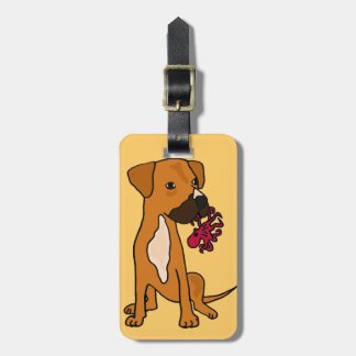 XX- Boxer Mix Rescue Dog Eating Octopus Luggage Tag
