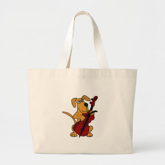 XX- Brown Puppy Dog Playing the Cello Canvas Bag
