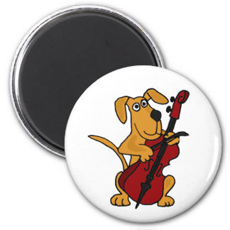 XX- Brown Puppy Dog Playing the Cello Fridge Magnet