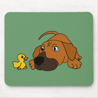 XX- Brown Puppy Dog with Rubber Duck Cartoon Mousepad