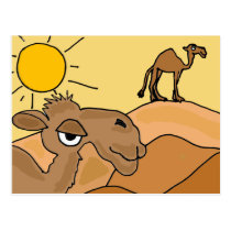 XX- Camel in the Desert Folk Art Postcard