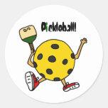 XX carácter divertido de Pickleball Pegatina Redonda