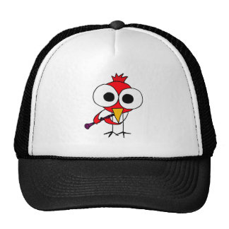 XX- Cardinal Bird Playing Clarinet Cartoon Hat