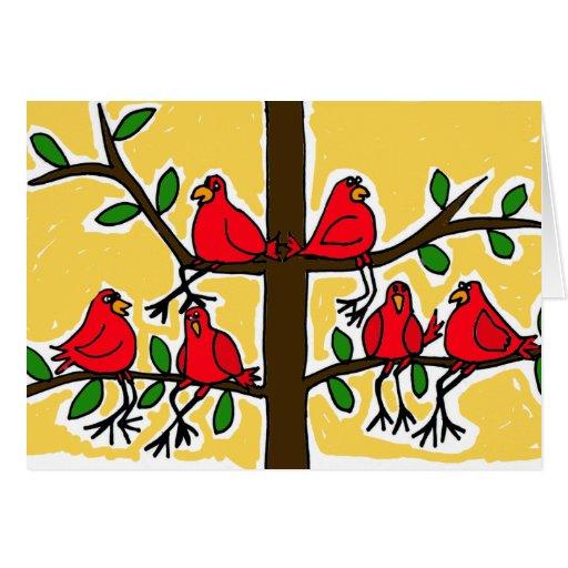 XX- Cardinal Birds in a Tree Folk Art Design Greeting Card