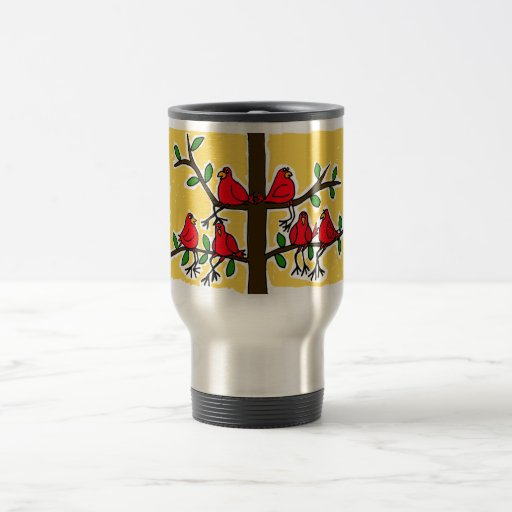 XX- Cardinal Birds in a Tree Folk Art Design 15 Oz Stainless Steel Travel Mug