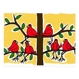 XX- Cardinal Birds in a Tree Folk Art Design Postcard