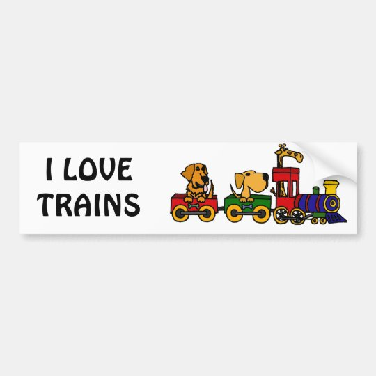 XX- Cartoon Train with Dogs and Giraffe Bumper Sticker