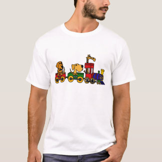XX- Cartoon Train with Dogs and Giraffe T-Shirt