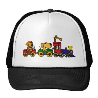 XX- Cartoon Train with Dogs and Giraffe Trucker Hat