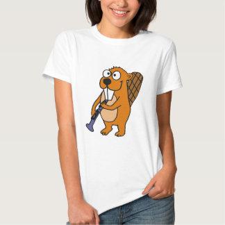 XX castor divertido que juega el dibujo animado Camisas