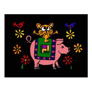 XX- Cat Sitting on a Pig with Flowers Folk Art Postcard