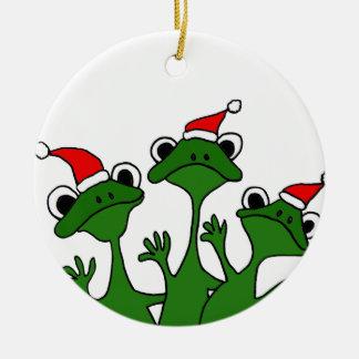 XX- Christmas Tree Frogs Cartoon Ceramic Ornament