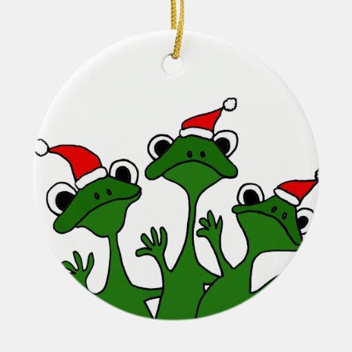 Xx christmas tree frogs cartoon ornaments zazzle