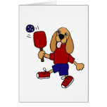 XX- Cocker Spaniel Playing Pickleball Cartoon Greeting Card