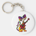 XX- Cool Cat Playing Guitar Cartoon Basic Round Button Keychain