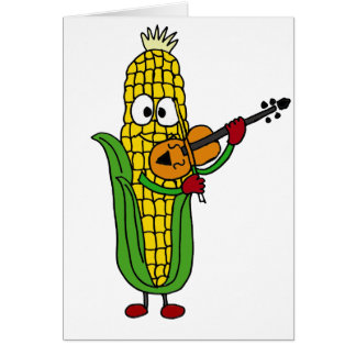 XX- Corn Playing Fiddle or Violin Greeting Card