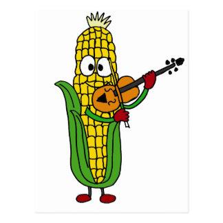 XX- Corn Playing Fiddle or Violin Postcard
