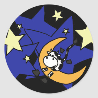 XX- Cow Jumping Over Moon Classic Round Sticker