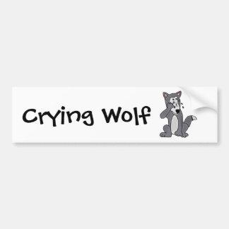 XX- Crying Wolf Cartoon Bumper Sticker
