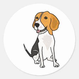 XX- Cute Beagle Cartoon Classic Round Sticker
