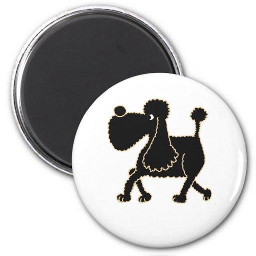 XX- Cute Black Poodle Design 2 Inch Round Magnet