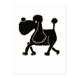 XX- Cute Black Poodle Design Postcard