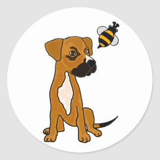 XX- Cute Boxer Puppy Dog and Bee Cartoon Classic Round Sticker
