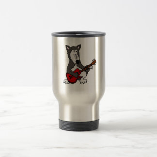 XX- Cute Wolf Playing Electric Guitar Cartoon 15 Oz Stainless Steel Travel Mug
