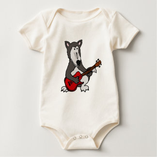 XX- Cute Wolf Playing Electric Guitar Cartoon Baby Bodysuit