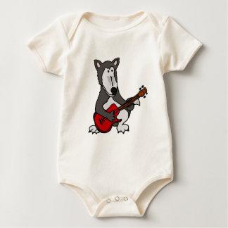 XX- Cute Wolf Playing Electric Guitar Cartoon Baby Bodysuit