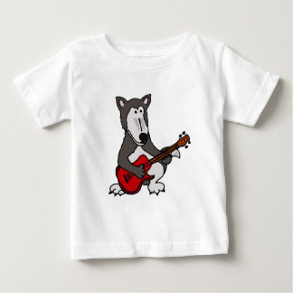 XX- Cute Wolf Playing Electric Guitar Cartoon Baby T-Shirt