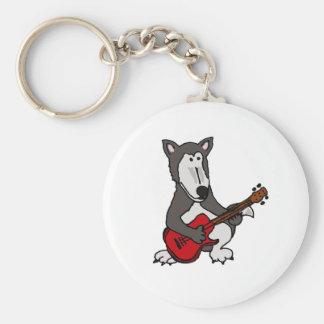 XX- Cute Wolf Playing Electric Guitar Cartoon Basic Round Button Keychain
