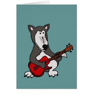 XX- Cute Wolf Playing Electric Guitar Cartoon Greeting Card