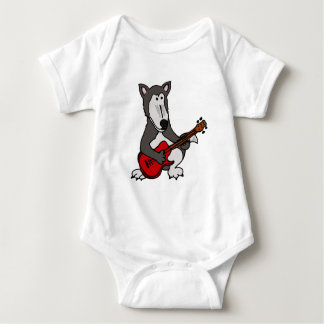 XX- Cute Wolf Playing Electric Guitar Cartoon Infant Creeper