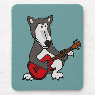 XX- Cute Wolf Playing Electric Guitar Cartoon Mouse Pad