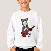 XX- Cute Wolf Playing Electric Guitar Cartoon Sweatshirt