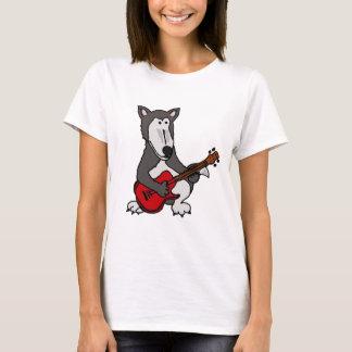 XX- Cute Wolf Playing Electric Guitar Cartoon T-Shirt