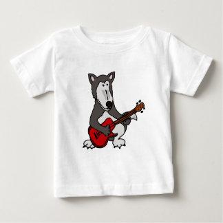 XX- Cute Wolf Playing Electric Guitar Cartoon Tee Shirt