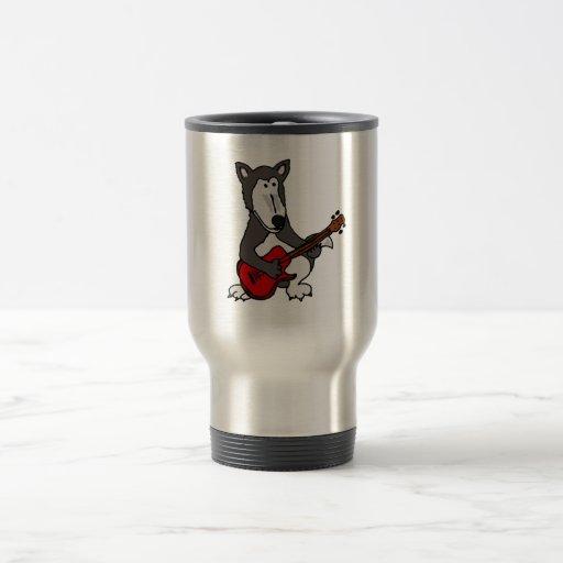 XX- Cute Wolf Playing Electric Guitar Cartoon Travel Mug