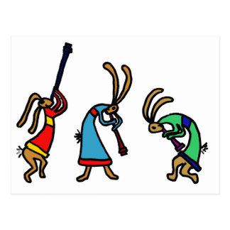 XX- Dancing Bunny Rabbits Postcard