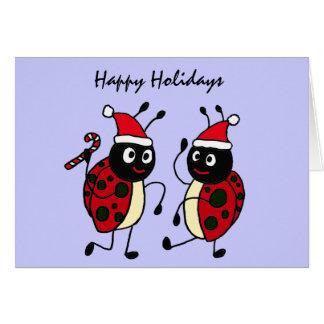 XX- Dancing Ladybugs Wearing Santa Hats Card