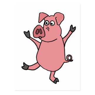 XX- Dancing Pink Pig Cartoon Postcard